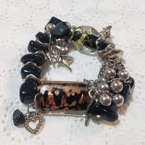Black Silver Vintage Heart Stone Charm Bracelet